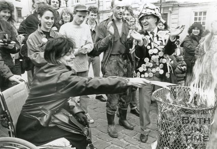 Protest Against the Poll Tax Organised by Mad Eli. Burning of Poll Tax Forms - Bath, April 1990