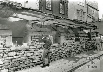 Repointing the City Wall, Upper Borough Walls, Bath 11 May 1989