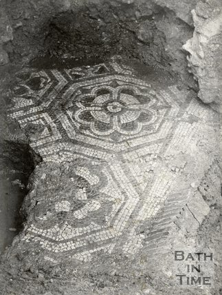 Roman Pavement in Bridewell Lane, Bath. Exposed when adding extension to Mineral Water Hospital in 1884