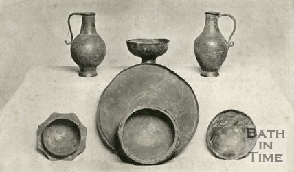 Roman drinking vessels and ewers from Roman Dipping Well, Bath, c.1920s