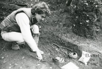 Skeleton uncovered during the Orange Grove, Bath Archaeological Dig 1979