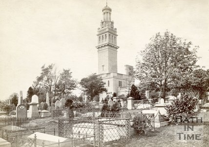 Beckford's Tower with Lansdown Cemetery, Bath, 1880s