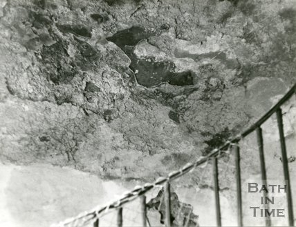 Beckford's Tower, Bath, condition in 1972 of part of wall along staircase