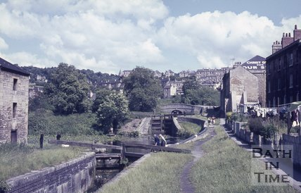 Lock flight on the Kennet and Avon Canal, Widcombe, Bath c.1960