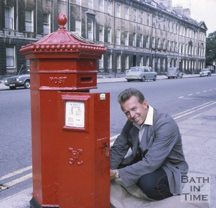 Collecting the mail from the Victorian Post Box on Great Pulteney Street, Bath, c.1960s