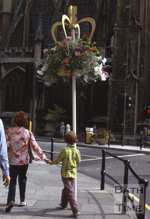 Floral display outside Bath Abbey, c.1970