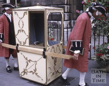 A sedan chair outside the Pump Room, Bath, c.1970