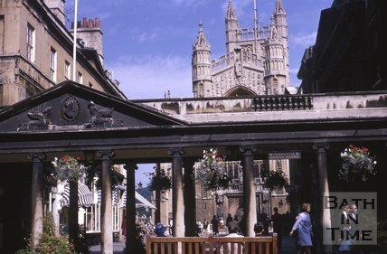 The Colonnade and west front of Bath Abbey, c.1960s