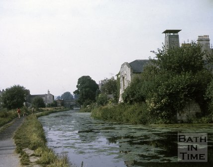 The unrestored Kennet and Avon Canal below Sydney Buildings, Bath c.1960