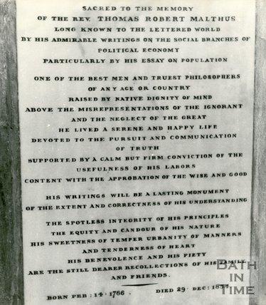 Memorial to the Reverend T. R. Malthus, Bath Abbey, c.1960s