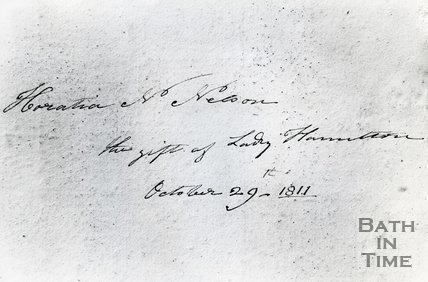 Lady Emma Hamilton inscription to Horatio Nelson, Bath, October 29th, 1811