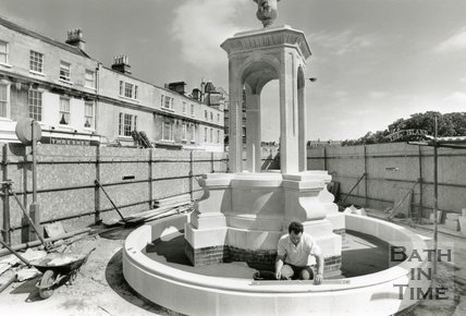 Pieroni's Mineral Water Fountain being re-erected at Terrace Walk after restoration, July 1989