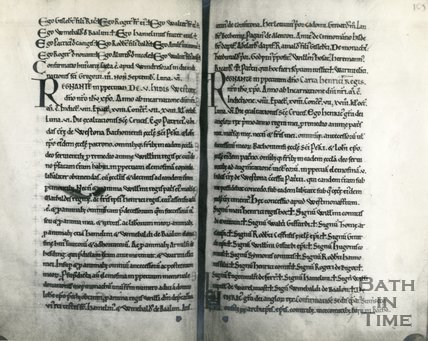 Copy of pp.104-107 of Chartulary of Bath Abbey in Possession of Corpus Christ College, Cambridge, 1956