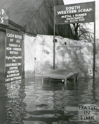 The flooded premises of South Western Scrap Merchants, 17-20 St John's Road, Bath 1960