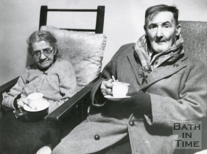 Two elderly flood refugees, 1960, Bath