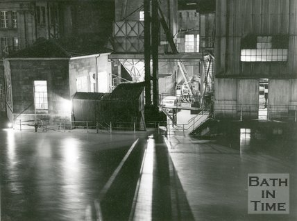 The flooded Electricity works, Dorchester Street, Bath, 1960
