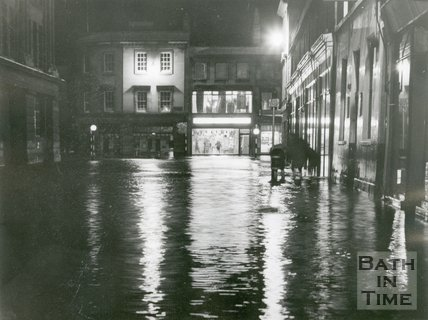 The flooded junction between Dorchester Street and Southgate Street, Bath, 1960