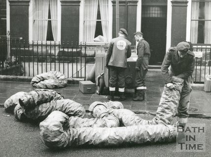 Rescue services using pumping equipment during the Floods of 1960 in Bath