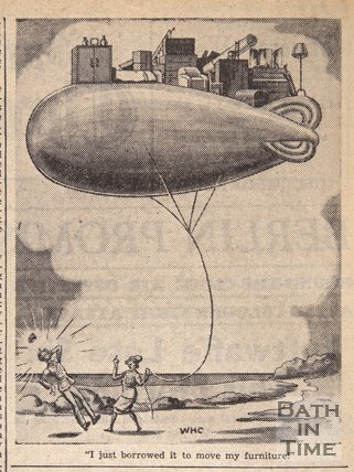 Barrage Balloon being used to move furniture, June 17, 1943