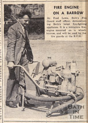 Bath fire guard demonstrating a fire engine on a barrow, June 23 1945