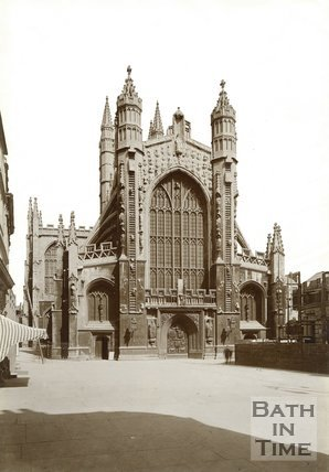 The west front of Bath Abbey, Bath c.1920