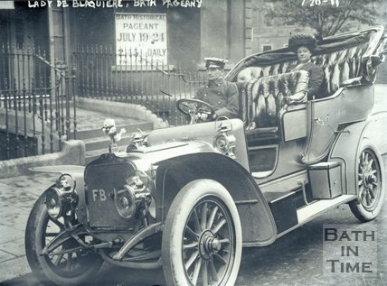 Lady De Blaquiere in her chauffeur driven car at the Bath Pageant, Bath 1909