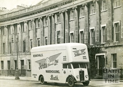 A promotional photo of a new Guy Vixen for Fortt's (Removals) Ltd. outside the Royal Crescent, Bath 1947