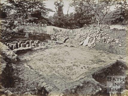 Mosaic floor at Roman villa excavations, Box 1898