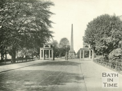 The entrance and obelisk in Royal Victoria Park, Bath c.1900