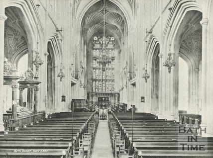 The nave looking east, Bath Abbey, Bath c.1900
