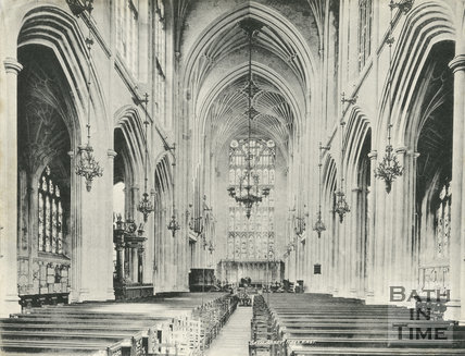 The nave looking east, Bath Abbey, Bath c.1900
