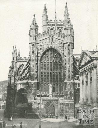 The west front of Bath Abbey, Bath c.1900