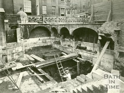 Emerging from below the Queen's Bath, Roman Baths, Bath 1878