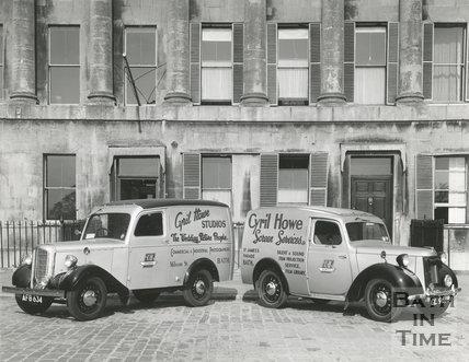 New Cyril Howe vans outside 19 & 20, Royal Crescent, Bath 1948