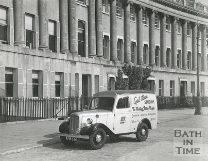New Cyril Howe van outside the Royal Crescent, Bath 1948