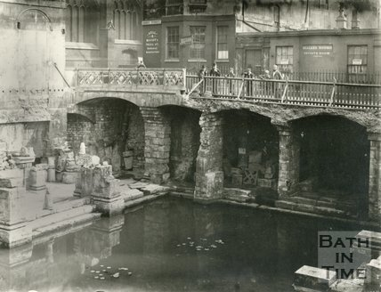 Spectators look down at the recently uncovered Roman Great Bath, east view, Bath c.1890