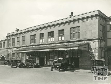 The rear entrance of Bath Spa railway station, Bath 1931