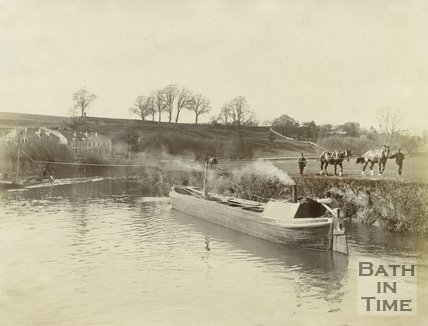 Horses pulling a narrow boat by line on the Avon Navigation near the Shallows, Saltford c.1900