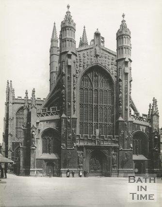 The west front of Bath Abbey, Bath c.1890