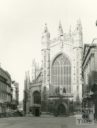 The west front of Bath Abbey, Bath c.1965