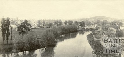 Grosvenor suspension bridge and Kensington Meadows, Bath c.1865