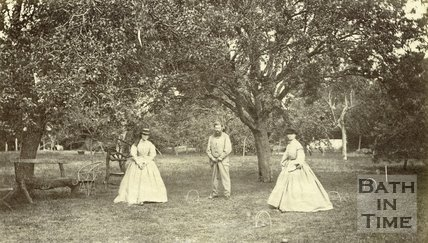 An early game of croquet, possibly in the Langridge area near Bath 1864