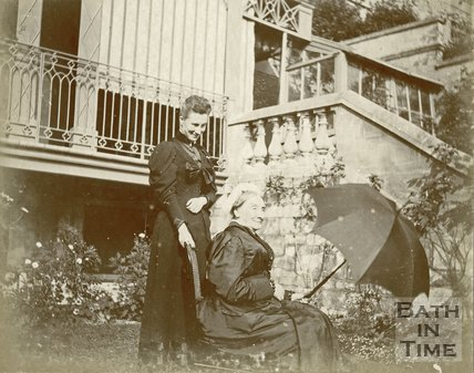 Miss Clarke and Margaret in their own garden, Bath c.1899