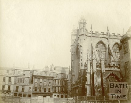 The site of the recently demolished shops in Abbey Church Yard and Bath Abbey, Bath c.1895
