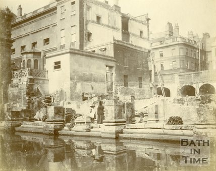 The north western corner of the Roman Great Bath, Bath c.1890
