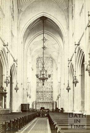 The nave looking east, Bath Abbey, Bath c.1880