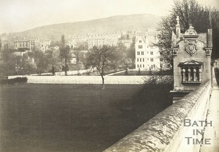 View from North Parade Bridge looking over the Recreation Ground to the rear of La Sainte Convent, Bath c.1880
