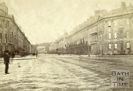 Great Pulteney Street before trees were planted, Bath c.1870
