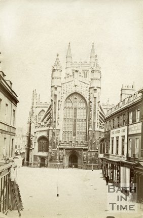 The west front of Bath Abbey and Abbey Church Yard, Bath c.1875