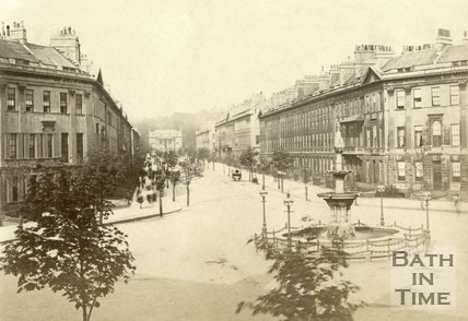 The fountain at Laura Place and Great Pulteney Street, Bath c.1880
